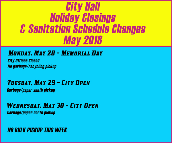 Holiday City Services Schedule