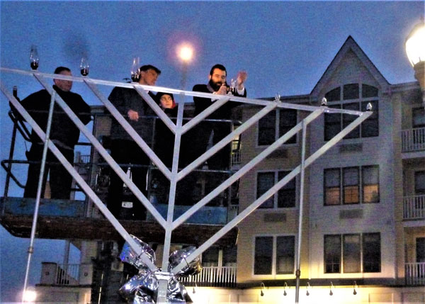 Chabad of the Shore Lights Chanukah Menorah at Pier Village